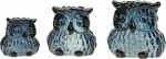 Glass Speckled Owls Set of Three Grey