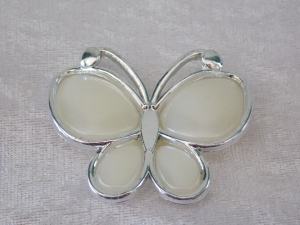 Plastic Butterfly Beads Pearl Ivory