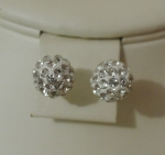 8mm Shamballa Stud Earrings Silver