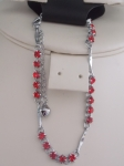 Rhinestone Chain Anklet Red