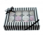 Black & White Cup Cake Window Box with 12 Insert