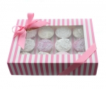 Pink & White Cup Cake Window Box with 12 Insert