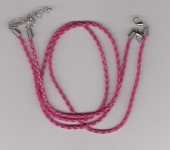 3mm Dark Pink Braided Leather Necklace Cord