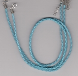 3mm Sky Blue Braided Leather Necklace Cord