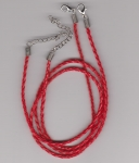 3mm Red Braided Leather Necklace Cord
