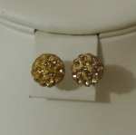 6mm Shamballa Stud Earrings Gold