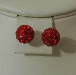 8mm Shamballa Stud Earrings Red