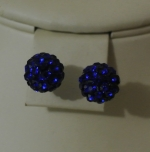 8mm Shamballa Stud Earrings Sapphire