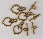 Antique Gold Ornate Heart Toggle Clasps x 4
