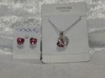 Austrian Crystal Necklace & Earrings - Dark Pink