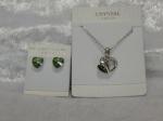 Austrian Crystal Necklace & Earrings - Green