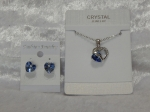 Austrian Crystal Necklace & Earrings - Light Blue