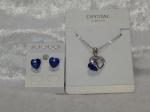 Austrian Crystal Necklace & Earrings - Sapphire