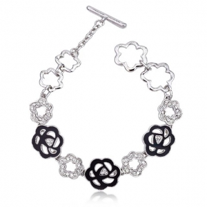 Crystal Ice Bracelet with Swarovski Elements Black Flower 20030 **CLEARANCE COST PRICE ONLY**