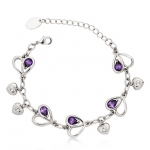 Crystal Ice Bracelet with Swarovski Elements Hearts Purple 20021 **CLEARANCE COST PRICE ONLY**