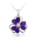 Crystal Ice Necklace with Swarovski Elements Clover Purple 10032 **CLEARANCE COST PRICE ONLY**