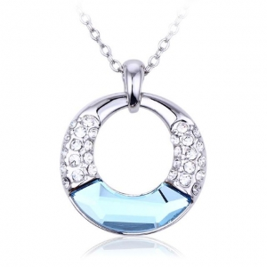 Crystal Ice Necklace with Swarovski Elements Circle Blue 10061 **CLEARANCE COST PRICE ONLY**