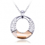 Crystal Ice Necklace with Swarovski Elements Circle Champagne 10061 **CLEARANCE COST PRICE ONLY**