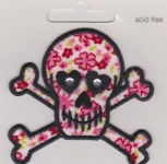 Iron On Patch Skull with Flowers