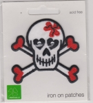 Iron On Patch Skull with Hearts