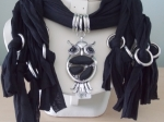 Scarf with Owl Pendant Black