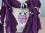 Scarf with Owl Pendant Purple