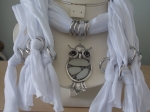 Scarf with Owl Pendant White