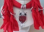 Scarf with Owl Pendant Red