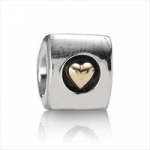 European Bead - Gold Heart