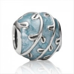 European Bead - Blue Enamel Vines