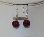 10mm Shamballa Drop Earrings Dark Red