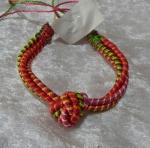Woven Eternity Knot Bracelet - Pink/Orange/Green