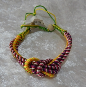 Woven Eternity Knot Bracelet - Yellow/Purple/Green