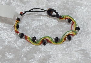 Beaded Zig Zag Bracelet - Black/Multi