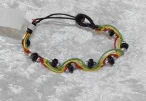 Beaded Zig Zag Bracelet - Black/Multi