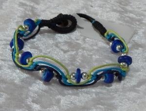 Beaded Zig Zag Bracelet - Blue/Green