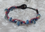 Beaded Zig Zag Bracelet - Blue/Pink