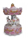 Musical Carousel with 3 Horses Pink