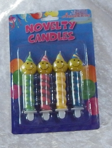 Novelty 4pc Swirl Smiley Face Candle Set