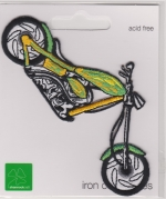 Iron On Patch Motorcycle Green