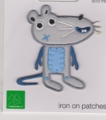 Iron On Patch Mouse Blue