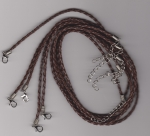 3mm Dark Brown Braided Leather Necklace Cord