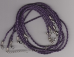 3mm Dark Purple Braided Leather Necklace Cord