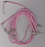 3mm Light Pink Braided Leather Necklace Cord