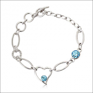 Crystal Ice Bracelet with Swarovski Elements Heart Chain Blue 20008 **CLEARANCE COST PRICE ONLY**
