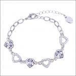 Crystal Ice Bracelet with Swarovski Elements Heart Chain Clear 20016 **CLEARANCE COST PRICE ONLY**