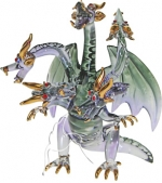 Glass Five Headed Dragon - Small Grey