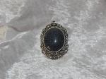 Antique Silver Black Oval Diamante Pendant