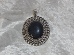 Antique Silver Black Oval Pendant