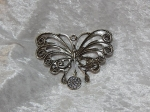 Antique Silver Butterfly Diamante Pendant